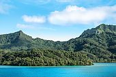 Beautiful mountain landscape with mount Turi on Huahine Island, French Polynesia.