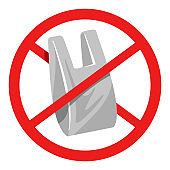 No to plastic bags program prohibited banner