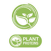 Plant proteins stamp - healthy nutrition icon