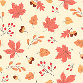 Autumn seamless pattern of orange leaves, acorns and branches