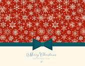 Christmas greeting card with white doodle snowflakes on red background