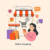 Shopping online concept illustration.