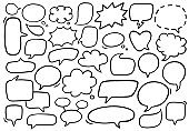 Vector set of speech bubbles. Hand-drawn, doodle elements isolated on white background.