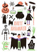 Halloween set with traditional elements and characters in simple hand drawn style.