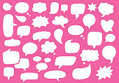 Vector set of speech bubbles. Hand-drawn, doodle elements isolated on colorful background.
