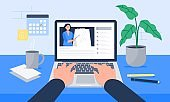 A workplace with coffee, calendar, papers, and laptop. Watching a video, course, webinar, tutorials online. Vector flat illustration.