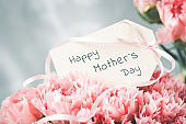 Tag with Happy Mother's Day message in a bouquet of carnations.