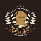 Coffe shop symbol, badge template. Vector . Typography design with bag with coffee beans and branch of coffee tree silhouette. Template for menu for restaurant, cafe, bar, packaging