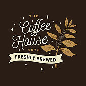 Coffe house symbol, badge template. Vector . Typography design with coffee cup and branch of coffee tree silhouette. Template for menu for restaurant, cafe, bar, packaging