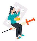 Sick woman with pills and injection and handkerchiefs. Flat design illustration. Vector