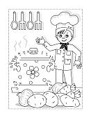Young chef dot-to-dot picture puzzle and coloring page