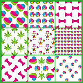 Set of seamless patterns with flat peace elements on white.