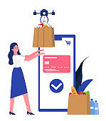 Woman taking delivery package from drone. Flat design illustration. Vector