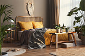 Wooden bed in stylish neutral bedroom interior with design furniture, decoration, carpet, bench, tropical plants, bed sheets, blanket, pillows and elegant personal accessories in home decor.