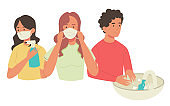 Three people in mask and spray, washing hands. Flat design illustration. Vector