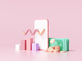 Finance analysis concept. phone with diagram, coins and banknote on pink background, Finance management, Statistic for organization or investment. 3d render illustration