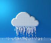 Cloud computing service, cloud data storage technology hosting concept. Pixel art box connection cloud on blue background. 3D render illustration.