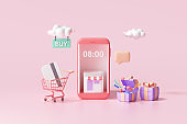 3D Online shopping on smartphone application service, digital marketing, online buying, and online payment concept. 3d banner background.