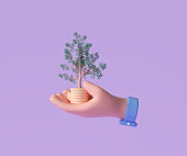 3D Hand holding coin stack with growing tree for business investment, finance strategy and money management concept. 3d render illustration