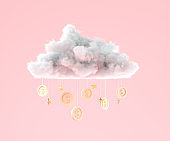 3D illustration Cloud with coins hanging for business and money saving concept, Minimal creative scene 3d render.