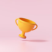 3d Trophy cup icon on pink background. 3d render illustration