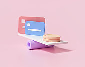 3D Minimal Coins stacks and credit card on weighing scales, financial management, financial analysis, money-saving and money exchange concept. 3d render illustration