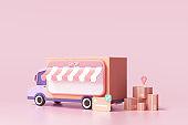 Online delivery service, logistics, online order tracking, delivery home and office. 3d render illustration