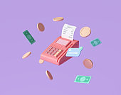 Payment concept credit card, payment terminal and banknotes floating coins around on purple background. money-saving, cashless society. 3d render illustration