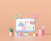 3D SEO Optimization, web analytics and seo marketing cncept. 3d render illustration