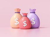 Money bags icon, money saving concept. Difference money bags on pink background. 3d render illustration