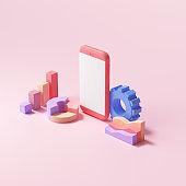 3D SEO Optimization, stock trading, data analysis, web analytics, and SEO marketing concept. 3d render illustration