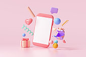 3D render mobile phone with blank screen and floating gift, heart, ribbon and geometric shapes on pink background