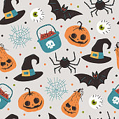 Halloween vector cartoon seamless pattern. Background for wallpaper, wrapping, packing, and backdrop.