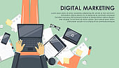 Digital marketing concept. Advertising and promoting. Man sitting on the floor holding a laptop in his lap and working. Flat vector illustration.