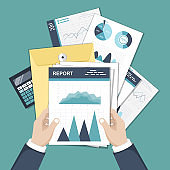 Accounting Concept. Financial analysis, tax payment, analytics, data capture, statistics, research. Forms, budget book, folder with documents, money. Can use for web banner, landing page, web template