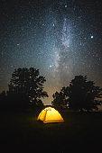 Tourist tent under Milky way