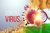 Image of coronavirus, COVID-19 cells in front of a fiery wave and the flag of India. Pandemic, isolation, 3d wave, epidemic concept. 3D rendering, 3D illustration