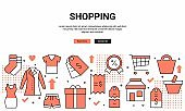 Shopping Related Pattern Design Web Banner and Icons.