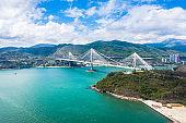 Ting Kau Bridge of Hong Kong at Sunny Day