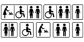 Disabled people mom icons, great design for any purposes. Old people. Stock vector image. EPS 10.