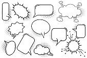 Hand drawn set bubble speech for banner design. Think bubble icon. Talk bubble. Stock image. EPS 10.