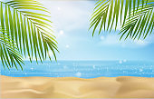 summer beach with blue sea and sky background.