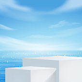 White podium display with for product presentation, summer beach with blue sea and sky background.