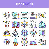 Mysticism line icons set. Isolated vector element.