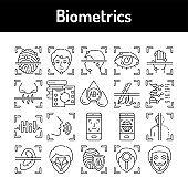 Biometrics color line icons set. Signs for web page, mobile app, button