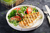 Grilled chicken fillet with salad. Keto, ketogenic, paleo diet. Healthy food.  Diet lunch concept.