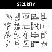 Security line icons set. Isolated vector element.
