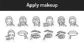Apply makeup color line icons set. Pictograms for web page, mobile app, promo.