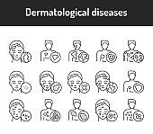 Dermatological diseases color line icons set. Pictograms for web page, mobile app, promo.