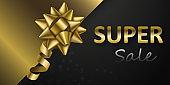 Golden bow on luxury black background. Super sale banner